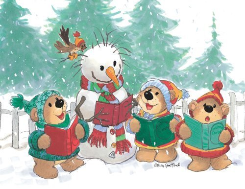 Caroling Bear - Suzy's Note Card Collection Stationery, Caroling Bears Christmas - 10892 by Flickback Media, Inc.