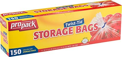 ProPack Disposable Plastic Storage Bags with Original Twist Tie, 1 Gallon Size, 600 Bags, Great for Home, Office, Vacation, Traveling, Sandwich, Fruits, Nuts, Cake, Cookies, Or Any Snacks (4 Packs)