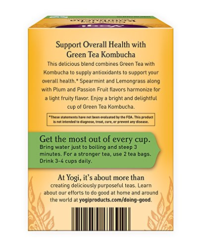 Yogi Tea, Kombucha Green Tea, 16 Count (Pack of 6) - incensecentral.us