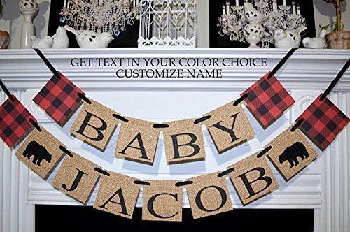 Lumberjack baby shower banner, lumberjack shower decorations, lumberjack name banner, lumberjack custom name banner, lumberjack nursery, baby baby shower