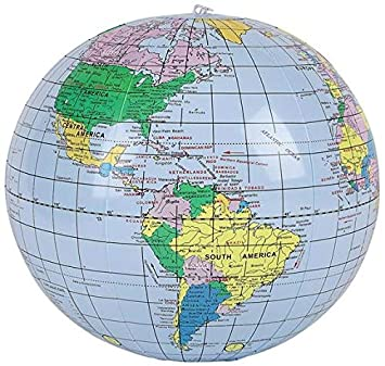 Map Of Canada On Globe.Buy Inflatable Earth Globe Beach Ball 16 Blue Oceans Online At Low