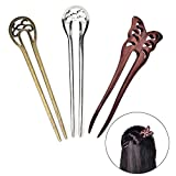 3 Pcs U-fat Plug Alloy 2-Prong Hair Fork Butterfly Wooden Hair Clips Stick Pin Hair Accessories for Girls Womens by Team-Management