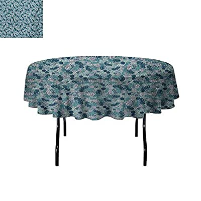 GloriaJohnson Leaves+Leakproof+Polyester+Round+Tablecloth+Flourishing+Beauty+Spring+Summer+Branches+Digital+Artsy+Pattern+Outdoor+and+Indoor+use+Dark+Teal+Seafoam+Pale+Mauve+
