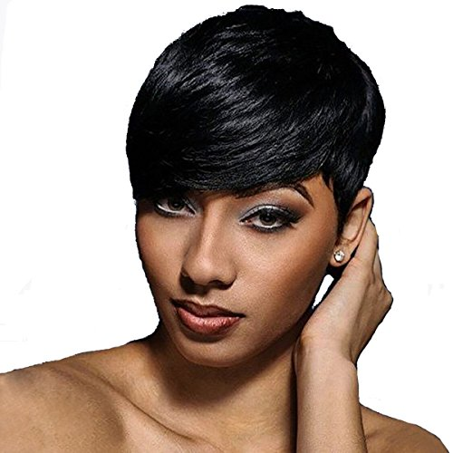 WTB Hair Short Synthetic Wigs For Black Women Black Cosplay Wigs with Free Wig Cap - Pixie Costume Hair