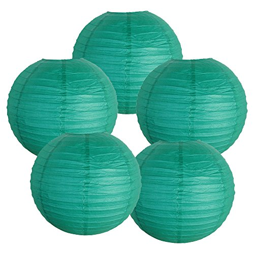 Just-Artifacts-6-Teal-Blue-Green-Paper-Lanterns-Set-of-5-Click-for-more-ChineseJapanese-Paper-Lantern-Colors-Sizes