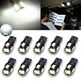 TUINCYN Extremely Bright 450 Lumens 5630 6SMD 168 194 2825 175 921 912 T10 LED Bulbs Chipsets White Interior Dome Light Bulbs Backup Lights Trunk Side Marker Lights 2W 12V 6000K (Pack of 10)