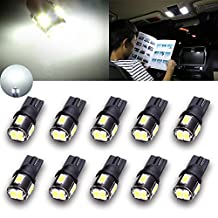 TUINCYN Extremely Bright 450 Lumens 5630 6SMD 168 194 2825 175 921 912 LED Bulbs Chipsets White Interior Dome Light Bulbs Backup Lights Trunk Side Marker Lights 2W 12V 6000K (Pack of 10)