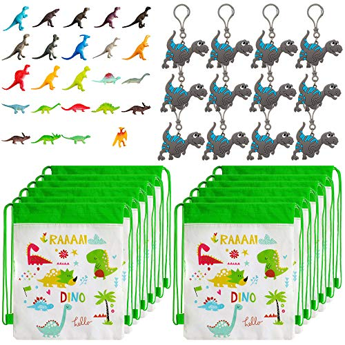 Dinosaur Party Favors Pack with Dinosaur Party Bags, Dinosaur Toys, and Dinosaur Keychains for 12 Kids ()