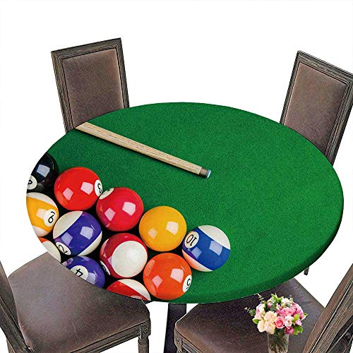 Pool Cue Raiders Red (PINAFORE Modern Table Cloth Billiard Balls on Green Table with Billiard cue Snooker Pool Game Indoor or Outdoor Parties 59