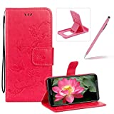 Strap Leather Case for Huawei Honor 10,Hot Pink Wallet Leather Cover for Huawei Honor 10,Herzzer Classic Pretty Butterfly Lotus Drawing Embossed Magnetic PU Leather Foldable Stand Card Holders Smart Telephone Case with Soft Inner
