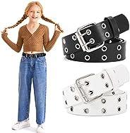 Kids Double Grommets Belt,PU Leather Punk Belt for Boys Girls Jeans Belt New