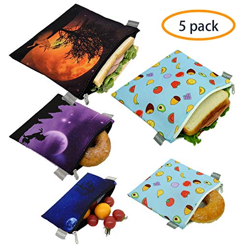 Reusable Sandwich Bags Snack Bags - Set of 5 Pack, Dishwasher Safe Lunch Bags with Zipper, Eco Friendly Food Wraps, BPA-Free. (Sky+Fruit)