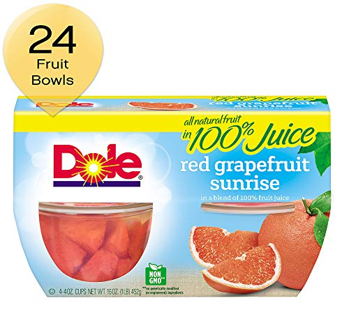DOLE FRUIT BOWLS, Red Grapefruit Sunrise in a Blend of 100% Fruit Juice, 4 Ounce, 4 count (pack of 6) (Grapefruit Bowl)