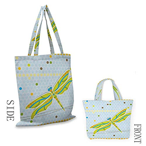 "The single shoulder bag DragonflyDragonfly Figure over Little Circular Spots and Dots Kids Cartoon Lime Green Pale Blue18""W x ()"