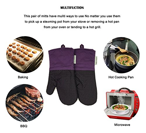 Silicone Oven Mitts 464 F Heat Resistant Potholders Dot Printed Cooking Gloves Non-Slip Grip for Kitchen Oven BBQ Grill Cooking Baking 1 pair 13 Inch (Purple) LA Sweet Home by LA Sweet Home (Image #2)