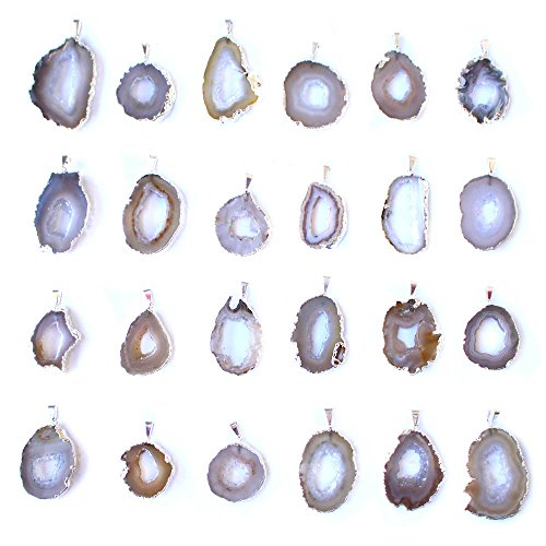 Rock Paradise Agate Geode Slice Pendants Beautiful Natural Agate Slice Druzy Pendant Silver Plated Edge
