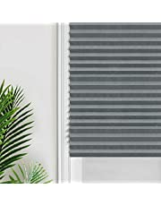 Vertical Pleated Blinds Fabric Shade Pleated Curtain Instant Temporary Privacy Blinds Roller No Drilling Temporary Pleat Paper Blinds Window Shades,23.6x59Inch