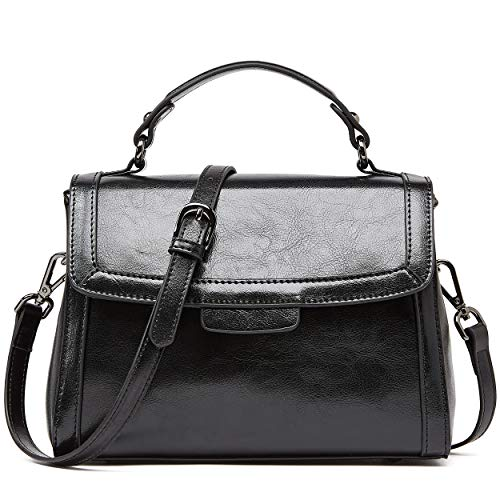BOYATU Leather Handbags for Ladies Crossbody Bag Vintage Women Top Handle Black