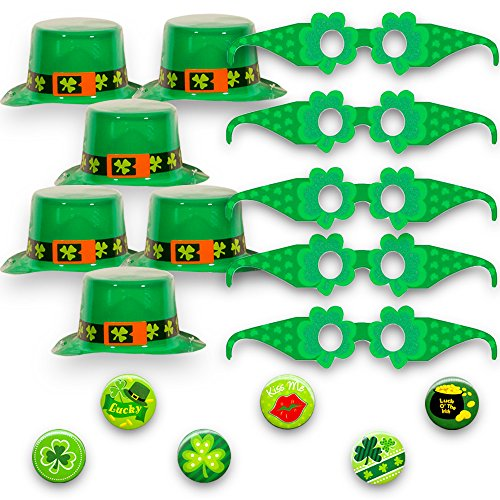 St. Patrick's Day Party Favors Set for 6 -- Green Shamrock Hats, Glasses and Buttons (St. Patrick's Accessories Pack)