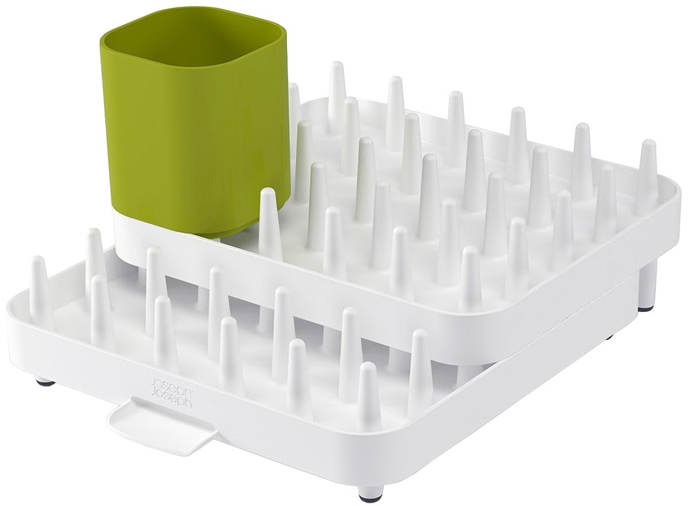 Adjustable 3 Piece Plastic Dish Rack With Drainer And