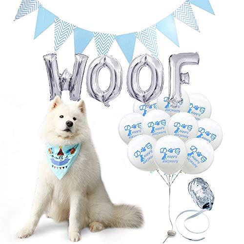 iPetTrendy iYoY Dog Birthday Bandana, Cute Cartoon Print Birthday Party Decoration Set-10 Pawty Ballons Woof Flag Dog Birthday Bandana Scarfs Great Birthday Outfit for Boy Dog