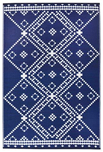 (Lightweight Outdoor Reversible Durable Plastic Rug (8x10, Amber Dark Blue))