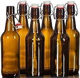 Beer Grolsch Best Deals - Seal-Tight Fliptop Beer Bottles / Grolsch Bottles with Wire Swing Top Plastic Cap for Brewing Beer and Kombucha - 16 oz, Amber Glass Bottles [Set of 6] (Amber)