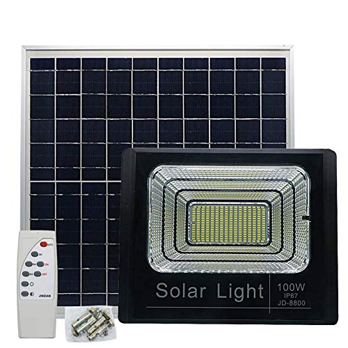 Solar Powered Street Flood Light, 6500 Lumens Outdoor LED Flood Lamp Garden Spotlights with Remote Control Security Lighting for Yard Garden Gutter Pathway Basketball Court Arena (100W, 3 Modes ()