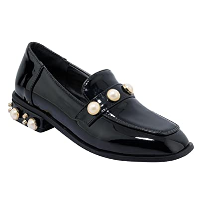 Carolbar Women's Beaded Square Toe Office Lady Low Heels Loafers Shoes