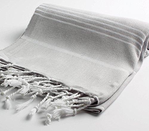 Cacala 100% Cotton Pestemal Turkish Bath Towel, 37 x 70, Silver Grey