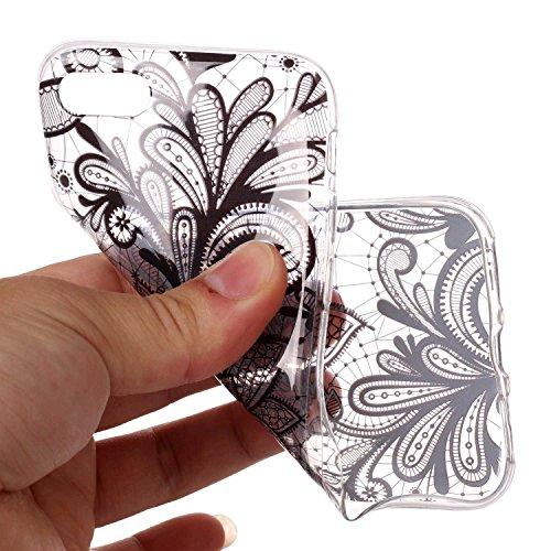 Coque iPhone 7 / iPhone 8 Fleurs noires Premium Gel TPU Souple Silicone Transparent Clair Bumper Protection Housse Arrière Étui Pour Apple iPhone 7 / iPhone 8 + Deux cadeau