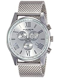 Akribos XXIV Men's AK813SS Analog Display Swiss Quartz Silver Watch