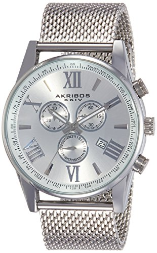 Akribos XXIV Men's AK813SS Swiss Chronograph Quartz Movement Watch with Silver Dial and Stainless Steel Bracelet