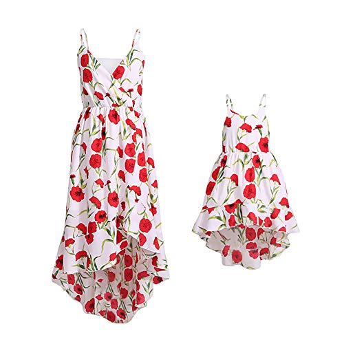 PopReal Mommy and Me Vintage Spaghetti Straps Off-Shoulder Floral Print Party Beach Cami Dress (My Mom Made Me Dress Like A Girl)