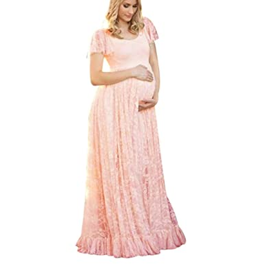 c998ad5d6b038 Maternity Floral Lace Dress Maxi Split V Neck Flying Sleeves Front Maternity  Gown Bridesmaid Pregnant Long
