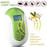 NANAN Ultrasonic Pest Repeller, Electronic Mosquito Repellent, Odorless Non-Toxic Insect Repellent Plug in Anti Rodent, Rats, Bugs, Flies, Spiders, Roaches, 4 Mode-[2018 New] (Green)
