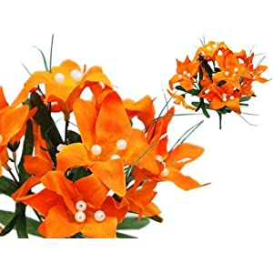Efavormart 70 Tiger Lily Artificial Wedding Flowers for DIY Wedding Bouquets Arrangements Party Home Decorations - Orange 38