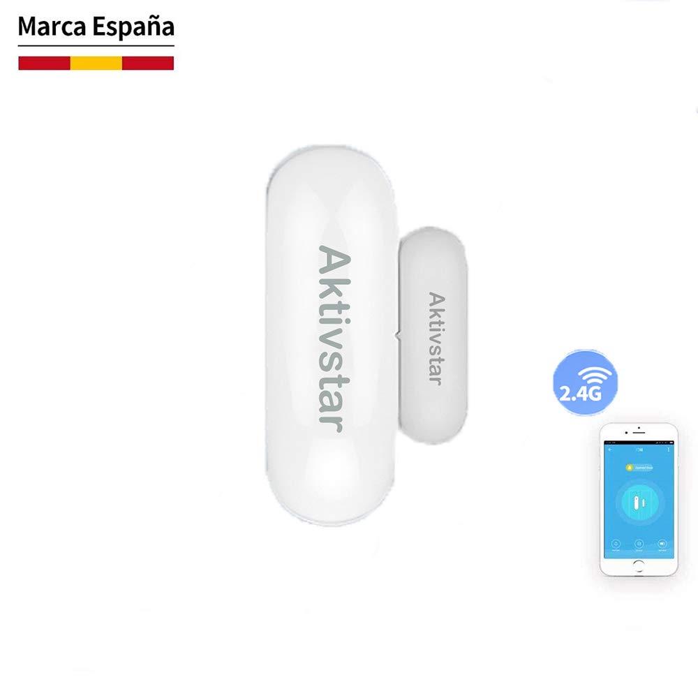 Aktivstar Alarma para Puerta Inteligente, Sensor Magnético Antirrobo de Control por APP y Conexión WiFI, Detector para Puertas y Ventanas Caja Cajón Compatible con Alexa Google Home
