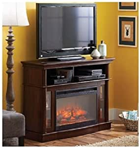 Better homes and gardens media electric fireplace ashwood road brown home kitchen for Better homes and gardens fireplace tv stand
