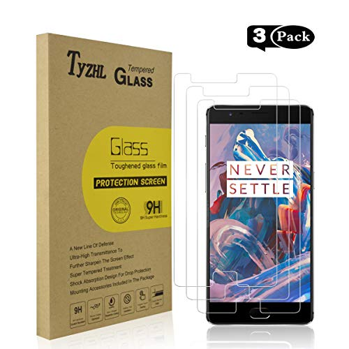 Oneplus 3 and Oneplus 3T Tempered Glass Screen Protector, TyZHL Screen Protector 2.5D Round Edge,9H Hardness,Anti-Scratch, [3-Pack]