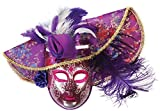Loftus International Feather Hat Full Face Masquerade Venetian Mask, Purple, One Size