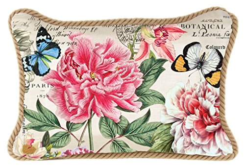 Michel Design Works Decorative Rectangle Throw Pillow, 18 x 12-Inch, Peony (Pillow Peony)