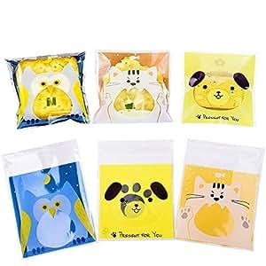 300pcs Bolsas para Chuches Búho Perro Gato para Niño Animal Encantador Bolsitas Caramelos Plástico Celofán Autoadhesivas Bolsas Galletas para Regalo ...