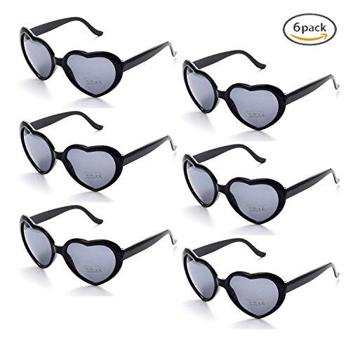 Onnea fashion 6 Neon Colors Heart Shape Party Favors Sunglasses, Multi Packs (6-Pack Black)