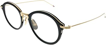 b030204db42 Thom Browne TBX908 49-01 Black White Gold Plastic Round Eyeglasses 49mm