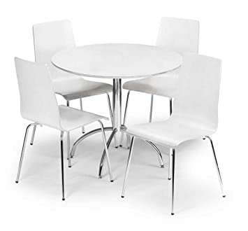 Julian Bowen Mandy White Lacquer Round Dining Table Four Chairs - Round dining table with four chairs