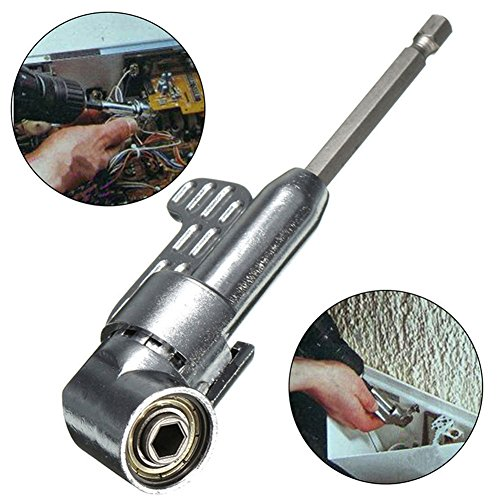 Right Angle Drill, 105 Degree Right Angle Driver Angle Extension Power Screwdriver Drill Attachment 1/4inch Hex Bit Socket Screwdriver Holder Adapter – Perfect Handy Tool