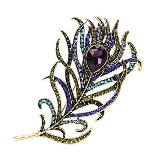 - Misright Peacock Feather Brooches Pins for Women with Crystal, Rhinestone Pearl,Vintage Gifts for Christmas/Daily/Birthday