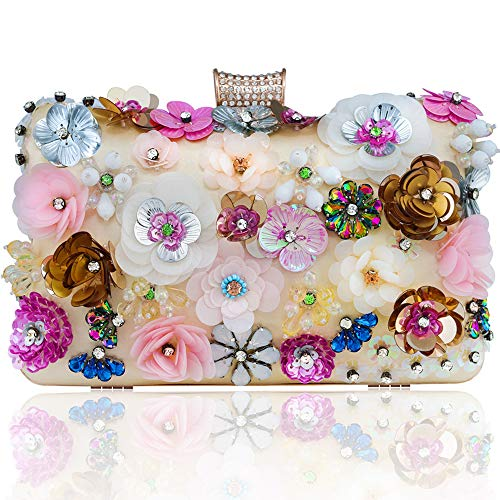 Womens Clutches Colorful Flowers Evening Bag Sequins Satin Handbag Purses Wedding Bags