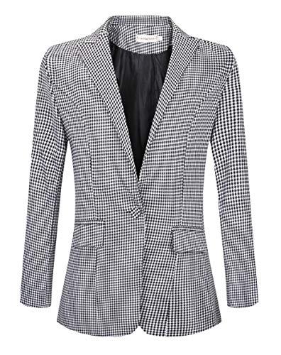SHUIANGRAN Women's Vintage Check Plaid Long Sleeve Casual Slim Fit Jacket Blazer US 6